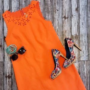 J Crew Orange Laser Cut Dress